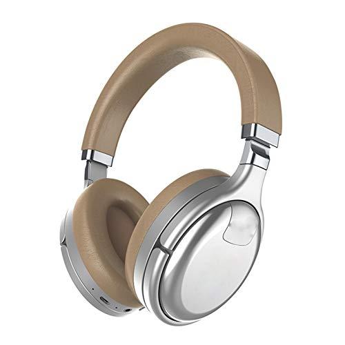 SFBBBO Auriculares Auriculares Bluetooth con cancelación Activa Auriculares inalámbricos y con Cable con Auricular Auricular con Sonido de Alta fidelidad Profundo Plata