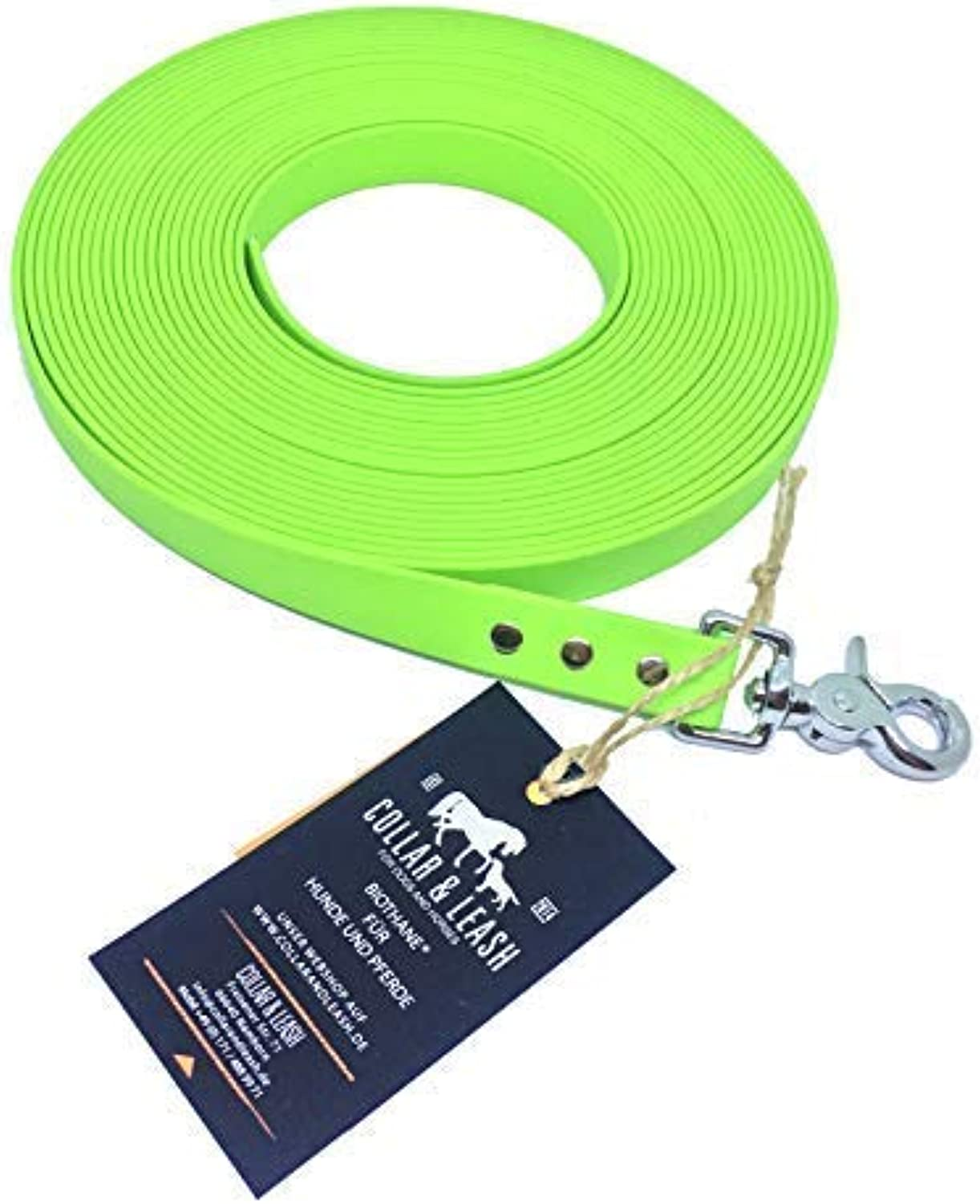Collar & Leash Tracking Lead from 19 mm Biothane 115 Meter Apple Green  Apple Green, 10 m