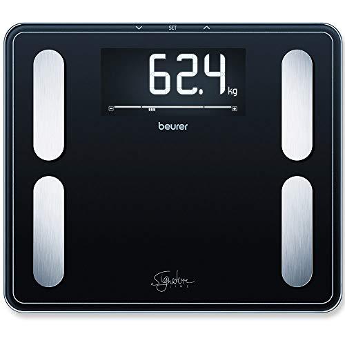 Beurer BF-410 Báscula Diagnóstica, Gran Capacidad 200 Kg, Gran Plataforma 35 X 30 cm, Pantalla LCD Retroiluminada Grandes Dígitos 4.5 cm, Color Negro
