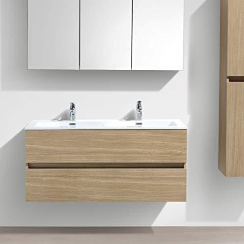 Le Monde du Bain Design Waschtisch Badezimmer Doppel Waschtisch Siena Breite 120cm Eiche hell Melamin