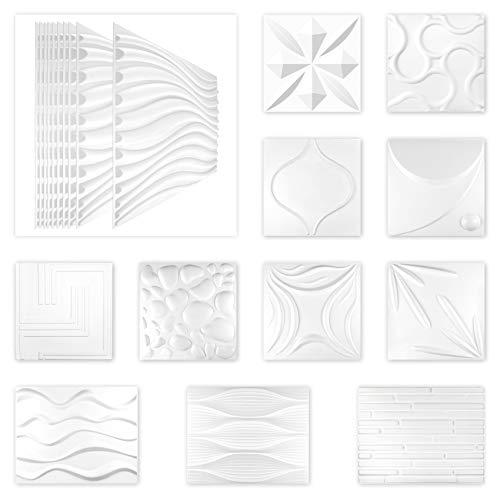 Paneles 3D de 50 x 50 cm, diseño de pared y techo – Producto 100% natural, fibra de bambú ecológica y placas de oreja de azúcar – (CATHERINE, 1 placa), revestimiento de pared, paneles de pared y techo