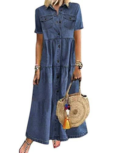 Tomwell Jeanskleid Sommerkleid Damen Jeans Kleider V-Ausschnitt Kurzarm Strandkleider Einfarbig A-Linie Kleid Boho Knielang Kleid Denimkleid B Hellblau 3XL