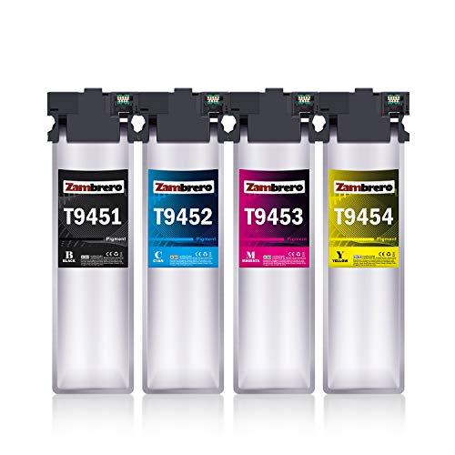 Zambrero T9451-T9454 Tinta Reempzo para Epson T9451 T9452 T9453 T9454 Tinta Compatible con Epson WorkForce Pro WF-C5710DWF WF-C5790DWF WF-C5210DW WF-C5290DW, Epson WF-C5710 WF-C5790 WF-C5210 WF-C5290