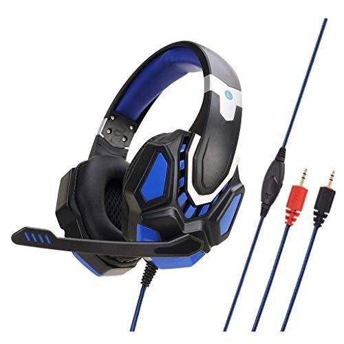 Auriculares Auriculares 3.5mm 2 M Auriculares con Cable Reducción de Ruido In-Ear Estéreo Gaming Auriculares Micrófono para N-Switch para Auriculares de teléfono móvil PS4 (Rojo/Azul) (Color: Rojo)