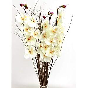 Peach flores artificiales. Orquídea 75cm listo para un florero juego de 3tallos