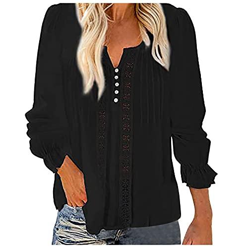 FOTBIMK Camisa hueca de las mujeres de manga larga camisa de gasa con cuello en V Tops, Negro, XL
