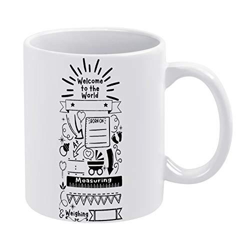 Kaffeetasse mit Vorlage zur Geburt eines Babys, Geschenk für Männer, Frauen, Freunde, Geburtstag, 325 ml, weiße Keramik-Tasse mit Zitat