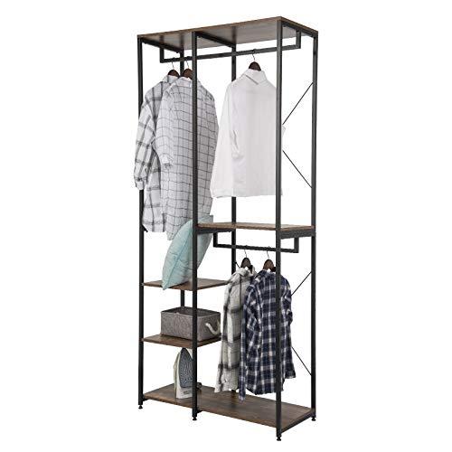 eSituro Stand Appendiabiti per Camera da letto Attaccapanni da Terra Guardaroba Metallico con 5 Ripiani di Legno SGR0097