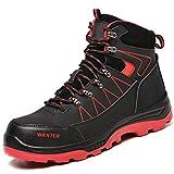 JUDBF Botas de Trabajo Invierno Hombre Mujer Impermeable Zapatillas de Seguridad con Punta de Acero Botas de Nieve Zapatos de Trabajo Ligero Antideslizante Zapatillas de Senderismo 608Black/44