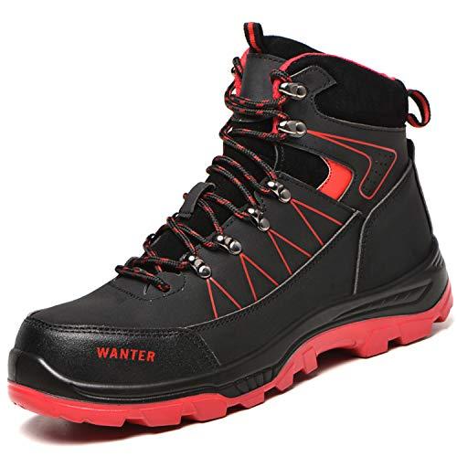 [JUDBF] ハイカット安全靴 スニーカーメンズレディース 冬用作業靴先芯入り軽量 あんぜん靴 半長靴ワーク シューズ 通気性 耐摩耗 防刺耐滑工事現場靴 防水 防寒 アウトドア ハイキングシューズ608Black/43