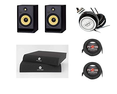 Par de monitor de estúdio KRK ROKIT8G4 de 8 polegadas, preto, com almofadas de isolamento de fibra sônica, cabo XLR de 38 cm, fones de ouvido MH100