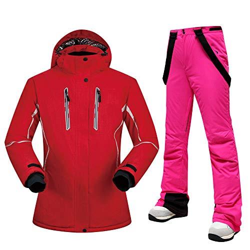 Damen Skianzug Marken Marken Hochwertiges Set Wasserdicht Warm -30 Grad Skijacke und Hose Winter Outdoor Snowboardanzüge, DH UND Rose, XL