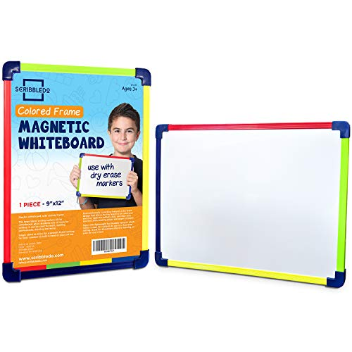 Scribbledo Colored Frame Magnetic Dry Erase White Board 9' X 12' Whiteboard (Does Not Connect to Fridge)