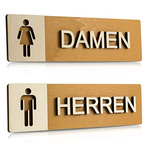 WC Schild Echtholz Holz Edel Piktogramme Toilette Toilettenschilder Türschild Damen Herren (Damen + Herren)