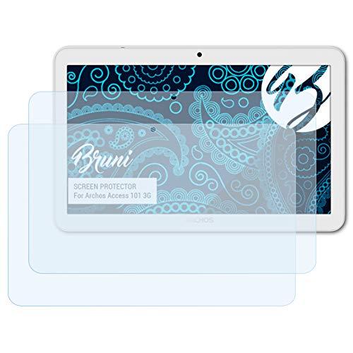 Bruni Schutzfolie kompatibel mit Archos Access 101 3G Folie, glasklare Bildschirmschutzfolie (2X)