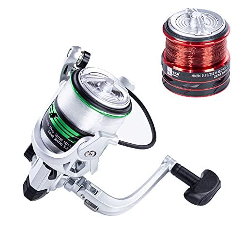 Zite Carrete de pesca con sedal, carrete para trucha, carrete con 2 bobinas de aluminio