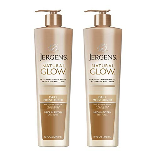 Jergens Natural Glow Sunless Tanning Lotion, Self Tanner for Medium to Deep Skin Tone, Body Lotion for Natural Looking Tan, 10 Ounce, featuring Vitamin E