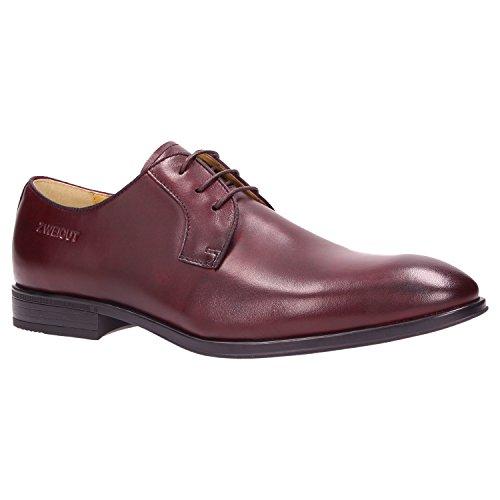 Zweigut® -Hamburg- smuck #270 Herren Business Leder Schuh Komfort-König Derby Sneaker-Gefühl, Schuhgröße:45, Farbe:weinrot