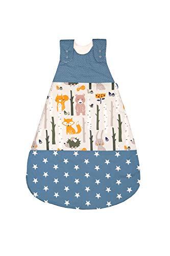 ULLENBOOM Sommerschlafsack Baby Waldtiere Petrol (Made in EU) - Schlafsack Baby Sommer aus Baumwolle, bequemer Schlummersack für Babys und Neugeborene, Größe: 68 bis 74