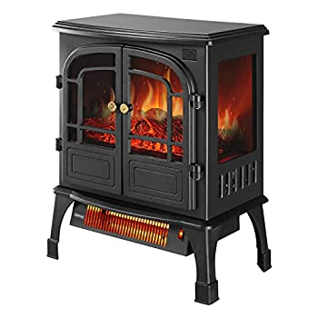 OVASTLKUY 1500W 3D Infrared Electric Fireplace Stove Freestanding Space Heater with Remote Control for Indoor Use Home Office