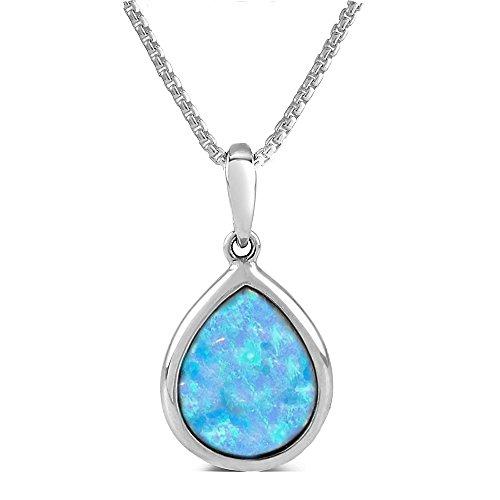 Paul Wright Created Opal Pendant, 925 Sterling Silver, 10x8mm Teardrop Shape, 41cm plus 5cm Extender