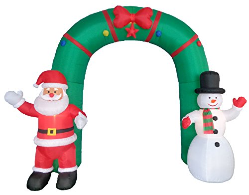 BZB Goods 10 Foot Tall Giant Christmas Inflatable Archway with Santa Claus and Snowman Outdoor Indoor Holiday Decorations, Blow up Lighted Yard Decor, Lawn Inflatables Home Family Outside