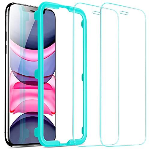 ESR Protector de Pantalla para iPhone 11 y iPhone XR 6.1', Anti-Burbujas, Anti-arañazos, Antihuellas Cristal Vidrio Templado, Marco de Instalación Fácil, Transparente, 2 Unidades
