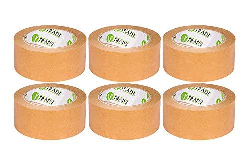 V1 Trade - Papier Klebeband, Papier Packband Braun, biobasiertes Material Eco Packing Tape, Naturkautschuk (48 mm x 50 m (6 Stück))