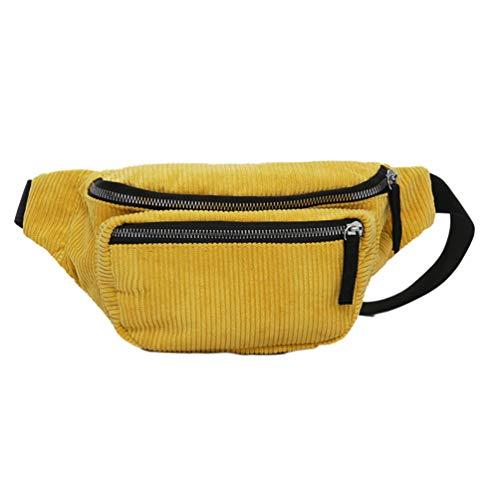 FENICAL riñonera de Pana Bolsa de Cintura Bolso con Cremallera en el Pecho Honda Viajes Mochilas para niña Mujer Damas - Amarillo