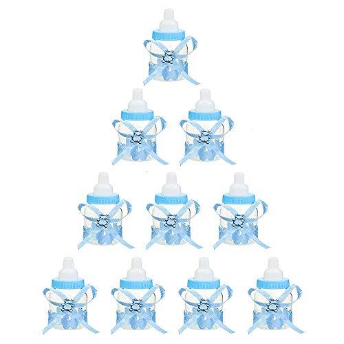 Süßigkeit Baby Flasche Baby Geschenk Candy Flasche Candy Flaschen Babyflaschen Flaschen Geschenkbox Deko Schnuller Jungen Shower Für Jungen Shower Babydusche Taufe Geschenkpaket 10 Stück (Blau)