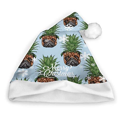 dfgi Ananas Mops Weihnachtsmütze Weihnachtsmütze Kurzer Plüsch mit weißen Manschetten Plüsch Weihnachtsmütze für Erwachsene 16x12 Zoll