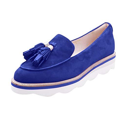 BIBOKAOKE - Zapatos informales para mujer, con borlas, planos, para exteriores, para caminar al aire libre, cómodos, redondos, informales, para el hogar, la oficina o el café