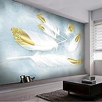 カスタム壁紙3Dステレオ水彩画フェザー写真ウォールステッカーリビングルーム寝室ウォールステッカー防水壁画-250X175CM