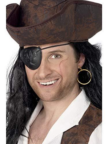 Karnevalsbud – Accesorios para disfraz de pirata, set con parche y pendientes, perfecto para carnaval, noche de carnaval, negro