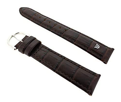 Maurice Lacroix Kroko Grain Original - Correa para reloj (20 mm, hebilla de acero inoxidable), color marrón oscuro