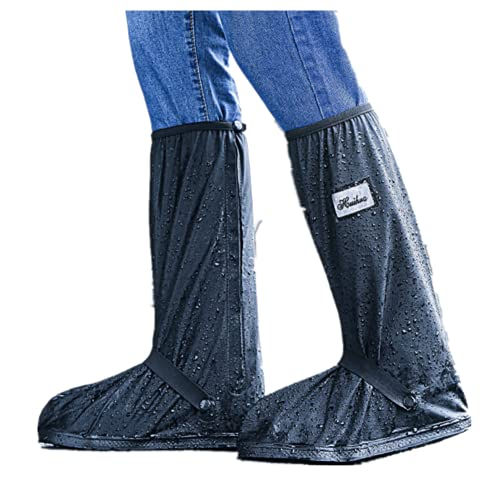 TYPING Zapatos A Prueba De Agua Cubierta Cubrecalzado Impermeable Moto Botas Fundas De Lluvia para Zapatos Uso Repetido con Tiras Reflectantes,Negro,S