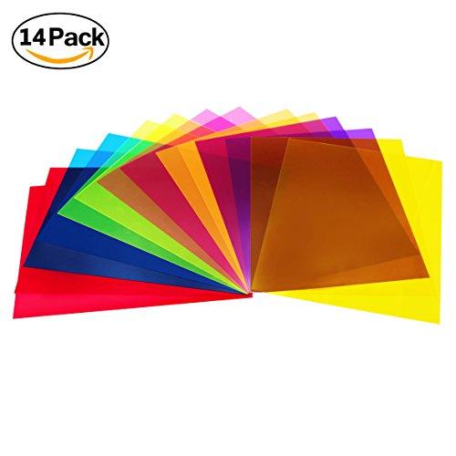 14 Stück Filter Overlays Gelfilter Korrektur Licht Transparente Farbfolie Kunststoffplatten, 11,7 x 8,3 Zoll, 7 Farben