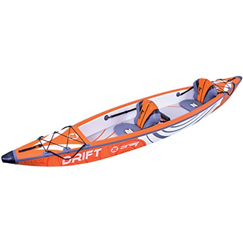ZRAY Kayak Drift - Kayak Hinchable, para 2 Personas, 100{d546a6dca5ea8368213cbc600b7533dba2242f2a7b775baa2b744b31b816be8a} Dropstitch (426 x 81 cm), Color Naranja