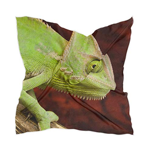 XiangHeFu zijden sjaal dunne hoofddeksel groen bont chameleon transparante zakdoek chiffon meisje