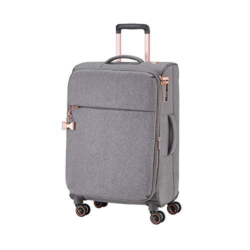 TITAN 4-Rad Weichgepäck Koffer mit Dehnfalte + TSA Schloss, Gepäck Serie BARBARA: Exklusiver Trolley im eleganten Look, 383405-04, 67 cm, 66 Liter (erweiterbar auf 75 L), grey (grau), Koffer M (67 cm)