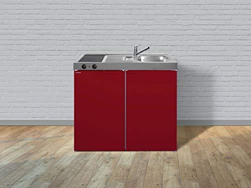 Stengel Miniküche Kitchenline MK 100 kleine Küchenzeile mit Kühlschrank und Kochfeld, Pantryküche, Kompaktküche - Farbe: bordeauxrot/Breite: 100cm