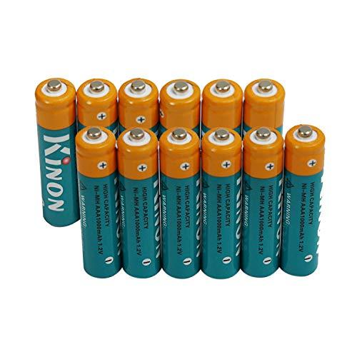 Kinon Baterías Recargables AAA Ni-Mh 1.2V 1000mAh (12 Piezas) para teléfono inalámbrico Balanza eléctrica Control Remoto Ratón inalámbrico Luz de Ruta de Paisaje
