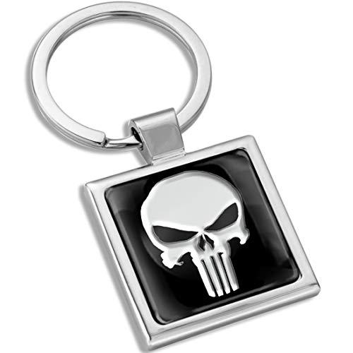 Biomar Labs Llavero con Caja de Regalo de Metal en 3D para Hombres y Mujeres Punisher Skull Cráneo Calavera KK 291