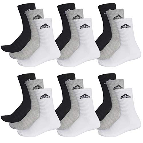 adidas 18 Paar Performance CUSHIONED CREW 3p Tennissocken Sportspocken Unisex, Farbe:032 - grey melange, Socken & Strümpfe:43-45