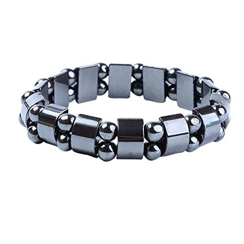 Pulsera de hematita negra punk para hombres y mujeres, pulseras saludables, joyería de cadena de mano