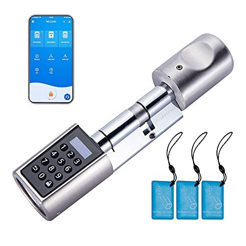 WE.LOCK Cerradura de Puerta Digital Cerradura Electrónica de Cilindro de Cerradura Cerradura inteligente con código ,Cerradura biométrica con tarjeta RFID trabajo bluetooth con WiFi fácil de instalar