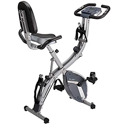 PLENY 3-in-1 Total Body Workout Exercise Bike w/ Backlit Monitor, High Backrest, Arm & Adjustable Leg Resistance Bands and 300 lbs Weight Support (Gray)