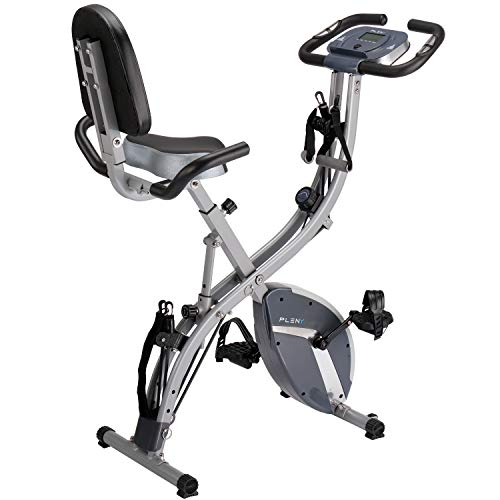 PLENY 3-in-1 Total Body Workout Exercise Bike w/Backlit Monitor, High Backrest, Arm & Adjustable Leg Resistance Bands and 300 lbs Weight Support (Gray)