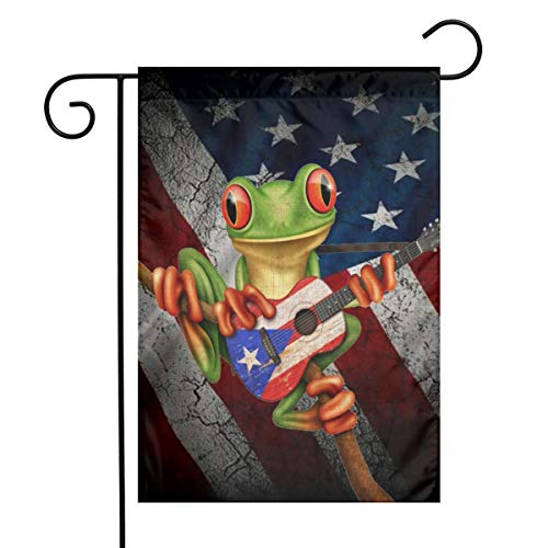 YANGHOME Puerto Rico Frog Puerto Rican USA American Flag Combo Flax Nylon Burlap Linen Fabric Garden Flag Farmhouse Decorations Mailbox Decor Welcome Sign 12x18 Inch Small Mini Size Double Sided