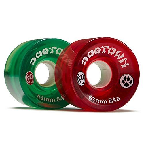 Dogtown K-9 Cruiser 84a Skateboard Wheels - Clear Red/Clear Green - 63mm